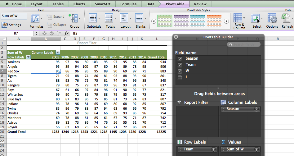 Excel pivot table step-by-step instructions.